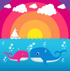 Free Cute Whale Character Royalty Free Stock Image - 20189006