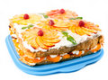 Free Cake With Peaches And Raspberries Stock Photography - 20196862
