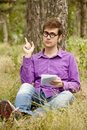 Free Funny Men With Glasses Doing Homework At The Park Royalty Free Stock Photos - 20197008