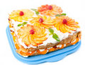 Free Cake With Peaches And Raspberries Stock Photography - 20197422