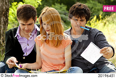 Free Students At Outdoor Doing Homework. Stock Image - 20196451