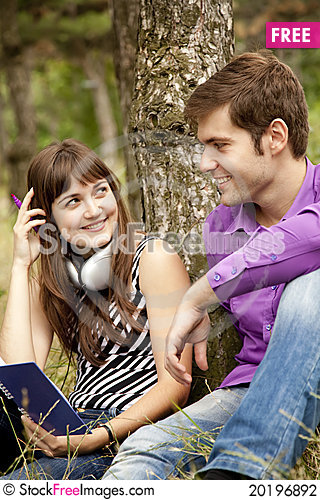 Free Two Students At Outdoor Doing Homework Stock Photography - 20196892