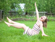 Free Young Women Falling On Grass Royalty Free Stock Photo - 20193145