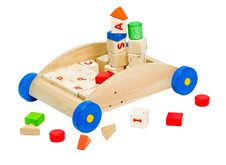 Free Colorful Kids  Toy Blocks In The Wooden Car Royalty Free Stock Photography - 20193567