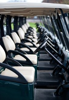 Row Of Golf Carts Royalty Free Stock Photo