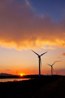 Free Windturbines At Sunset Royalty Free Stock Photo - 20196265