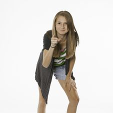 Free Teenage Female Pointing Isolated On White Royalty Free Stock Photography - 20196447