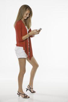 Free Teenage Female Pointing Isolated On White Royalty Free Stock Photos - 20196458