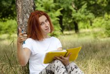 Free Girl Doing Homework At Outdoor. Royalty Free Stock Photo - 20196475