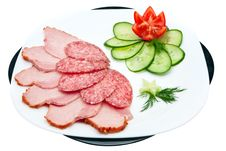 Sausage And Ham With Vegetables Stock Photography