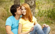 Couple At The Park In Summer Day Royalty Free Stock Images