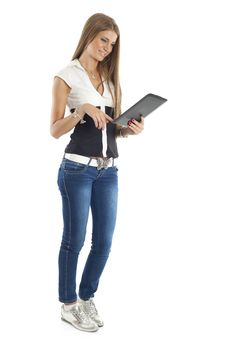 Free Beautiful Woman With Tablet Computer Stock Photo - 20197440
