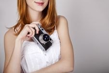 Free Redhead Girl In White Dress With Vintage Camera. Stock Photo - 20197470