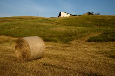 Round Bales On Meadow Royalty Free Stock Photos