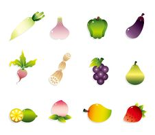 Free Cartoon Fruits And Vegetables Icon Set Stock Photo - 20199150