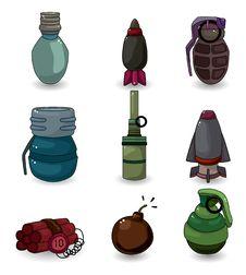 Free Cartoon Explosive Icon Set Stock Images - 20199154