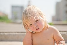 Adorable Baby Play With Cell Phone Calling Stock Photo