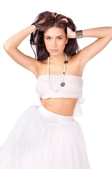 Free Young Woman In White Outfit Isolated Royalty Free Stock Images - 20199309