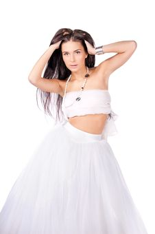 Free Young Woman In White Outfit Isolated Stock Image - 20199311