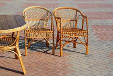 Free A Pair Of Wicker Chairs And Table Stock Images - 20199774