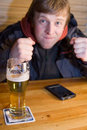 Free Fan With Beer And Palm-size PC Stock Image - 2028451