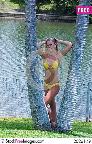 Yellow bikini Stock Photo
