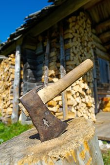 Steel Axe And Wood
