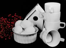 Free Bird House With Cups, Eggs And Plant. Stock Photo - 2023140