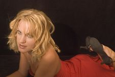 Free Blonde Red Dress Stock Photo - 2024350