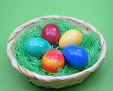 Free Colored Eggs In Basket Stock Images - 2024494