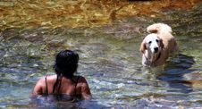 Free Woman And Her Dog Swimming Royalty Free Stock Photo - 2024575