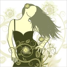 Free Girl On A Flower Background Stock Image - 2024891