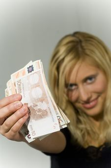 Free Blond Woman With Money Royalty Free Stock Images - 2025509