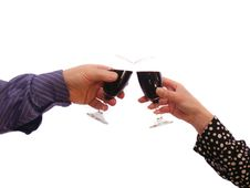 Couple Touching Glasses Royalty Free Stock Photography