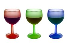 Free Three Colorful Glasses With Wine Royalty Free Stock Photo - 2025955
