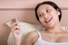 Pregnant Woman Listens To Music Royalty Free Stock Photo