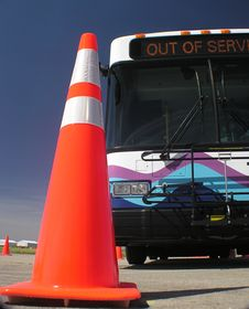 Free Bus And Traffic Cone 2 Royalty Free Stock Image - 2026526