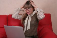 Free Amazed Woman In Glasses With Laptop Stock Photography - 2026982
