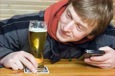 Man With Beer Stock Image