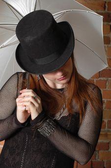 Gothic Girl With Hat Royalty Free Stock Photos