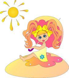 Free Little Girl Under The Sunshade. Stock Image - 20200061