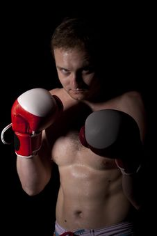 Free Young Boxer Over Black Background Royalty Free Stock Image - 20200196