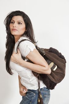 Free Attractive Indian Girl Holding Hand Bag Royalty Free Stock Image - 20200506