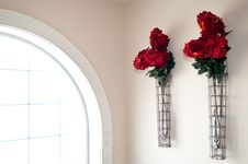 Free Red Flowers Beside Window Royalty Free Stock Image - 20206806