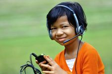 Free Girl With Headset Stock Image - 20207151