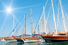 Yachts On The Harbor. Stock Photography