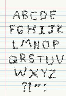 Scribble Alphabet On Notebook Paper Royalty Free Stock Photos