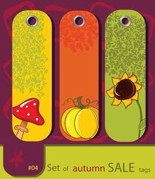 Set Of Retro Sale Nature Autumn Tags Stock Photos