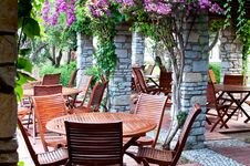 Free Wooden Chairs And Table In The  Resort . Turkey. Royalty Free Stock Photos - 20218448
