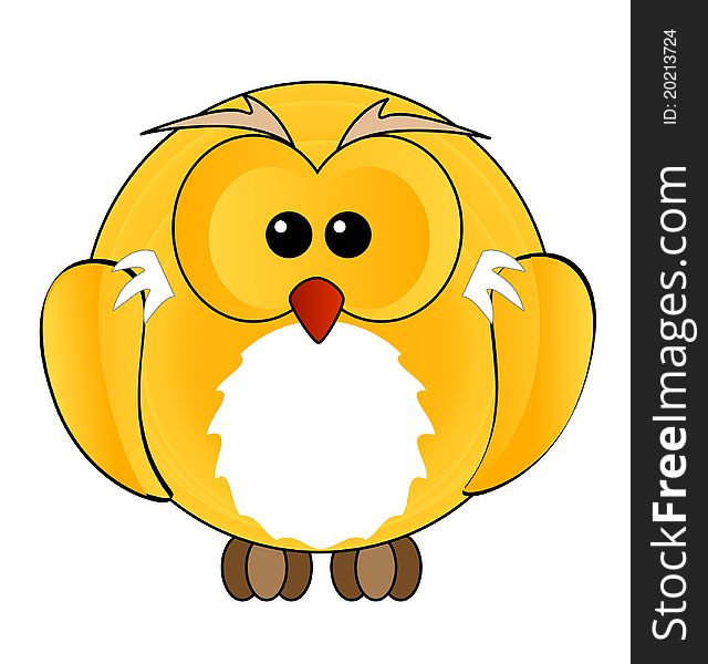 Abstract owl bird sign yellow color